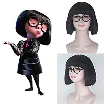 Amazon Com Party Queen The Incredibles Edna Mode Cosplay Wigs Short Bob Straight Black Hair Punk Fluffy Wig Hallowen Cosplay Costume Synthetic Wig With Glasses Party Use Beauty