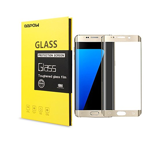 QQPOW 9H Full Cover Tempered Glass Protector for Samsung Galaxy S7 Edge Screen Protector Premium HD 0.2mm Round Angle Anti Fingerprint Screen Glass (Gold)
