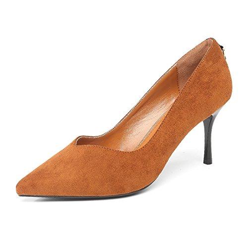 de primavera fino tacón Tacones moda Brown Boca acentuado Jqdyl otoño zapatos transpirable baja mujer WU1wP1BRq