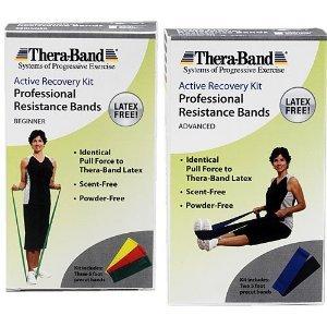 Thera-Band Kits de récupération active - Sans Latex Exercise Band Packs Débutant, 3ct.