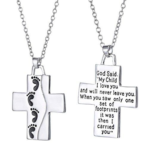 Necklace Opeof God Said on Back Footprints Cross Pendant Women Men Necklace Christian Jewelry - Silver