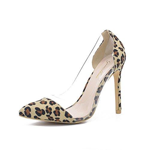 Genshuo Kvinnor 11cm Transparent Andas Höga Klackar Sexig Spetsig Tå Slip-on Bröllops Finskor Leopard