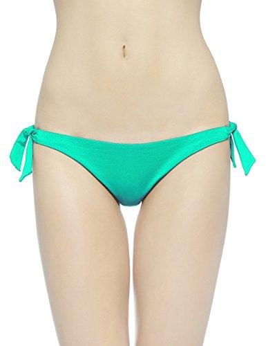 - EONAR Womens Cheeky Bottom Tieside Brazilian Bikini Briefs Sweetheart Hipster (S,Green)