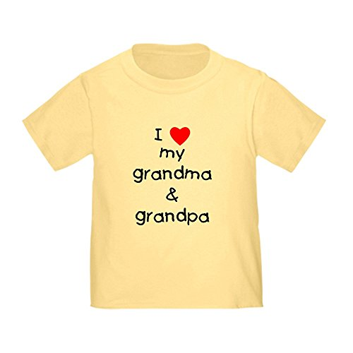 CafePress I Love My Grandma & Grandpa Toddler T-Shirt Cute Toddler T-Shirt, 100% Cotton Daffodil Yellow