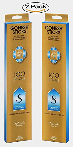 Gonesh Classic Incense Sticks - #8 Spring Mist 100-Count (Pack of 2)