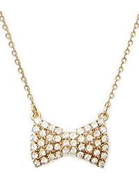 Sparkling Bow Mini Pendant Necklace, Golden