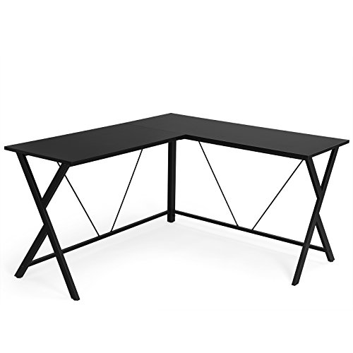 SONGMICS L-Shaped Office Desk, Corner Writing Desk, Gaming Workstation, Sturdy Metal Frame, Easy Assembly, Tools and Instructions Included 57.1''x 51.1'' x 29.9'', Black ULWD70BK ()