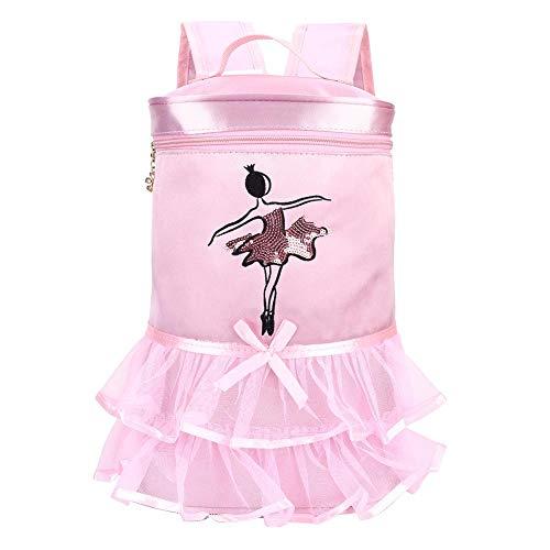 (Ballet Dance Bag Tutu Pink Dress Dance Satin Backpack Ballerina Girl Sequined Shoulder Bag with Handle for Toddler Girls(Pink))
