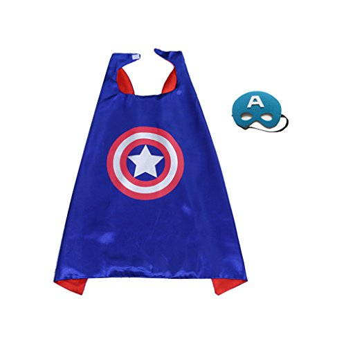 Superboy Costume (Superhero Cape and Mask Set Kids Children Costumes for Halloween Christmas Birthday Party (Captainboy))