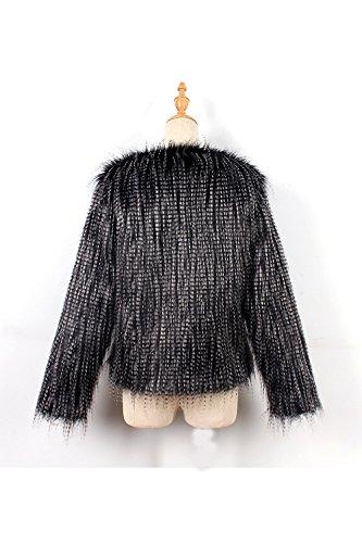 Long Faux Outcoat Casual Chaqueta Scoop Warm Cuello Black Hairy Mujer Winter Redondo Fur La 6wzR1qW