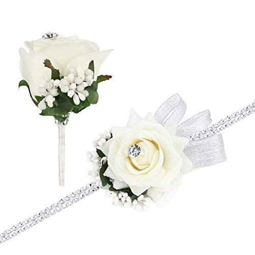 (FAYBOX Wedding Prom Velvet Rose Rhinestone Corsage and Boutonniere Set With Silvery Ribbon Stretch Bracelet (Ivory))