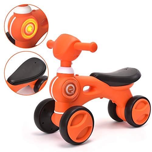(ChromeWheels Baby Balance Bike, Toddler Walker Bike Toy with Music & Light 4 Wheels for 10-24 Months Kids, Orange)