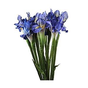 MARJON Flowers4 pcs Silk Artificial Ireland Irish Iris Fake Flower for Wedding Decor Home Table Decoration (Blue) 112
