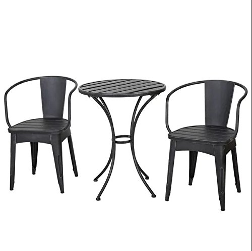 Modern Transitional Cast Iron 3 Piece Patio Bistro Set - Includes Modhaus Living Pen (Black with - City Galleria Silver
