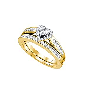 Size 5 - 10k Yellow Gold Diamond Heart Bridal Wedding Engagement Ring Band Set (1/2 Cttw)