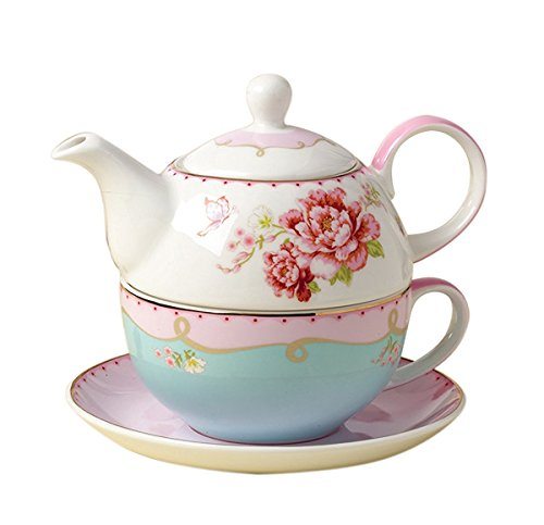 Jusalpha Fine Bone China Teapot for One, Rose Teapot and Saucer Set- Tea Cup with Saucer Set, Pink Roses (Teapot set 02)