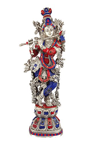 NA Statuestudio Hindu Religious Lord Gopala Krishna Murti Brass Inlay Statue/Divine God Love Flute Playing Sculpture Idol/Indian Decorative Shri Krishna Spiritual Pooja Figurine-Silver Red ()