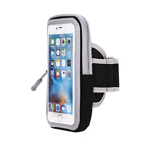 JULAM SWEET-366 Sports Armband for iPhone 7/6S/6 Plus/Samsung Galaxy S8/S7/S6/S5 Edge Plus Cell Phone Case, Sweat Proof Adjustable Running Arm Bag Zipper Pouch with Key Holder Wallet Card Slot - Black