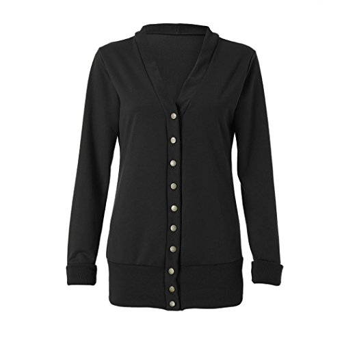 iTLOTL Women's Business V-neck Metal Buttons Thicken Sweater Solid Color Long Sleeve(Black ,US-6/CN-M) by iTLOTL (Image #3)