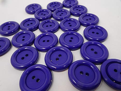 JumpingLight VTG Royal Blue Dolls Eye 2-Hole Buttons with Raised Edge 27mm Lot of 8 B25-2 Perfect for Crafts, Scrap-Booking, Jewelry, Projects, Quilts