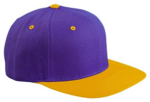 Wholesale Wool Blend Flexfit Yupoong Flat Bill Blank Snapback Hats (Two-Tone, Purple/Gold) - 20599