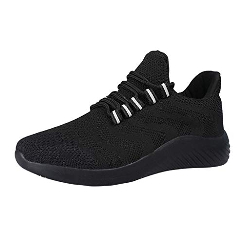 LUCAMORE Mens Womens Fly Knit Walking Shoes Lightweight Sneakers Mesh Breathable Running Athletic Fitness Shoes Black ()