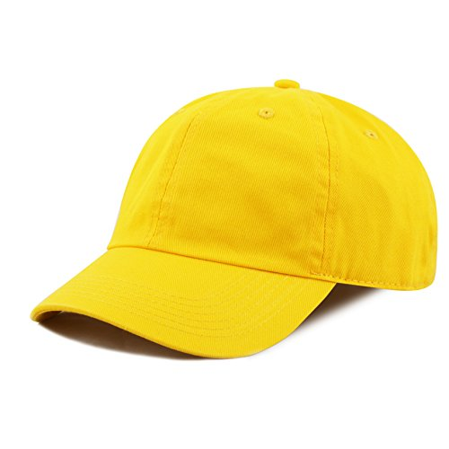 The Hat Depot Kids Washed Low Profile Cotton and Denim Baseball Cap (Yellow)]()