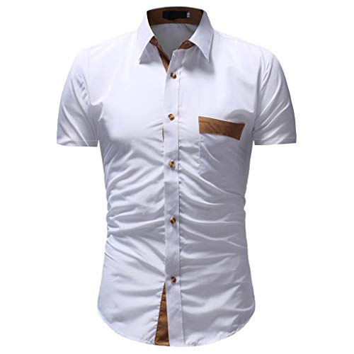 TANGSen_Mens Solid Casual Button Down Top Summer Fashion Short Sleeve Shirt Top Plus Size Blouse 532 White