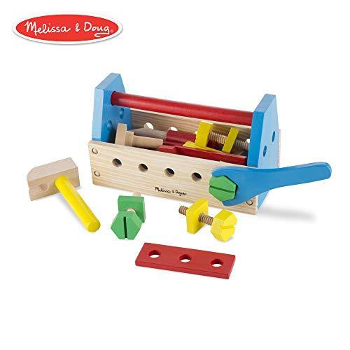 Melissa & Doug Take-Along Tool Kit Wooden Toy, Pretend Play, Sturdy Wooden Construction, Promotes Multiple Development Skills, 9.9