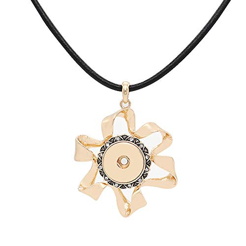 Lovmoment Hollow Spiral Petal Shape Gold Snap Button Necklace with 80cm Chains 20mm Snap Buttons Jewelry