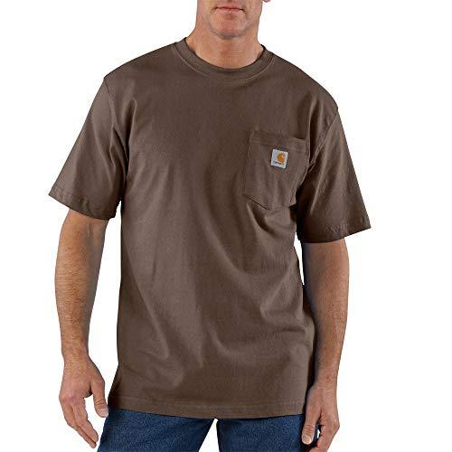 Striped Side Label - Carhartt Men's K87 Workwear T-Shirt - 4X-Large Tall - Dark Brown