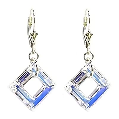 Top Swarovski Elements Crystal Square Sterling Silver Leverback Dangle Earrings (1.5 in) for cheap
