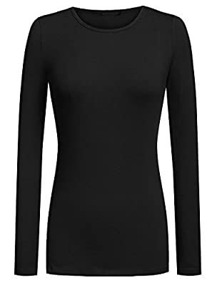 Qearl Women Cotton Round Neck Long Sleeve Solid Stretch Pullover Top Thermal Shirt