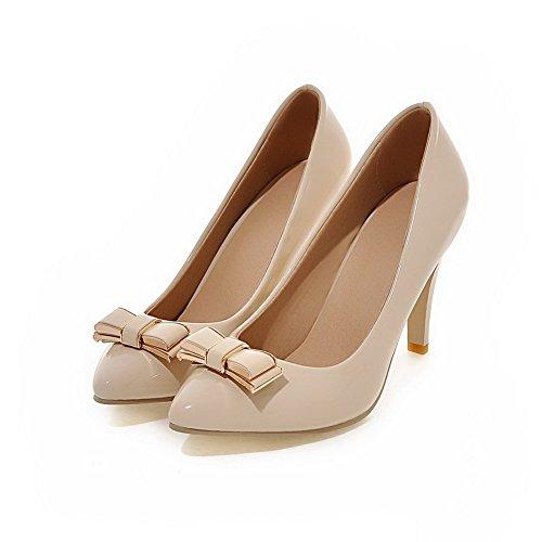 Damen Low-Heels Rein Ziehen auf PU Spitz Zehe Pumps Schuhe, Hellblau, 40 AgooLar