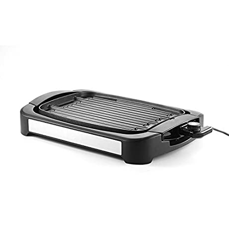 Grill Griddle IGarden Indoor Electric Smokeless Cast Aluminum Reversible Grill Griddle Combo Water Based Double Layer Teflon Coating 1700 Watts Non Stick FDA Certification For Home Restaurant Party
