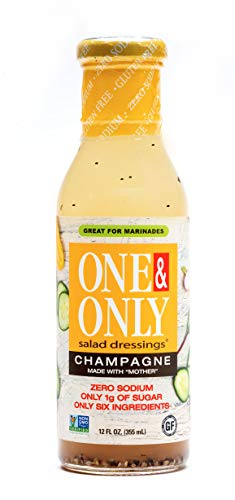 One&Only Champagne Salad Dressing, 12 fl.oz., Keto Salad Dressing and Marinade, Made with Only Six Organic and non-GMO Ingredients, Gluten Free, Vegan, Zero Sodium, 1g Sugar.