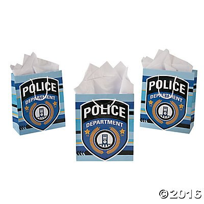 Police Officer Party Supplies (Pack of 12 - Police Party Medium Gift Bags - Party Loot Bags)