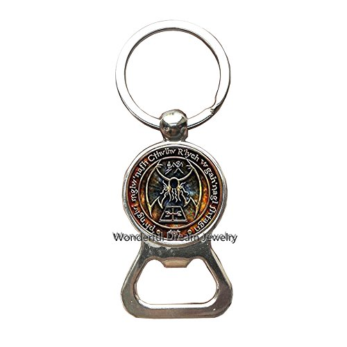 New Cthulhu R'lyeh Sigil Key Ring Inspired by H.P. Lovecraft Key Ring Bottle openers Keychain Glass Photo cabochon Bottle openers Keychain,PU341 ()