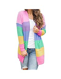 Jannyshop Women's Rainbow Color Cardigan Sweater with Pockets Batwing Long Sleeve Soft Winter Tops