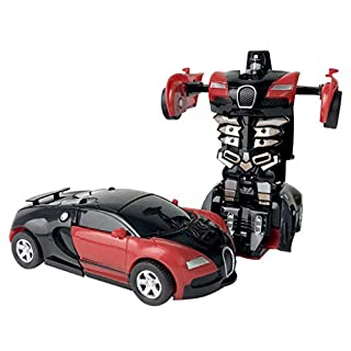 1:32 Pull Back The Collision Car Children Deformation Car Robot Toy for Kids - One Button Deformation Car Model Toy - Transformation Vehicle Perfect for Birthday Gift (Red - A)