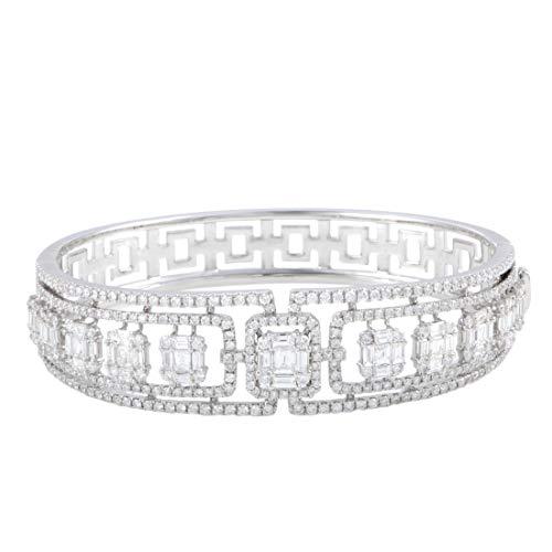 Bangle Baguette Diamond Bracelet (Odelia 18K White Gold Round and Baguette Diamonds Bangle Bracelet)