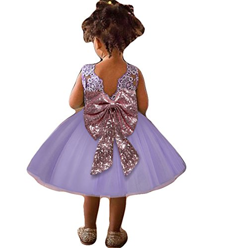 Summer Sun Dresses 12-18 Month Lilac Easter Tutu Tulle Dress for Wedding Birthday Party Toddler Kids Backless Sleeveless Flower Bow Dress 12-24 Month Infant Cute Princess Dress Fancy (Purple 90) (Lilac Tutu)