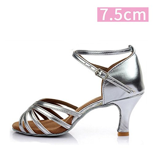 5cm Heel Satin Ballroom 7 41 Shoes Performance Latin Dance Salsa Heel Size Shoes with 5cm Women's 7cm Dance Protector and Dance Shoes Silver Color Pwqfpp