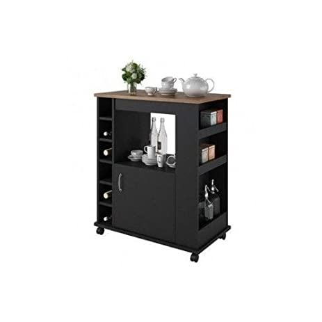 Kitchen Rolling Cart With Wine Rack, Side Cubbies, Island Cabinet, Food  Prep Station