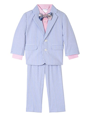 Nautica Baby Boys Suit Set with Jacket, Pant, Shirt, and Tie, Medium Blue Seersucker, ()