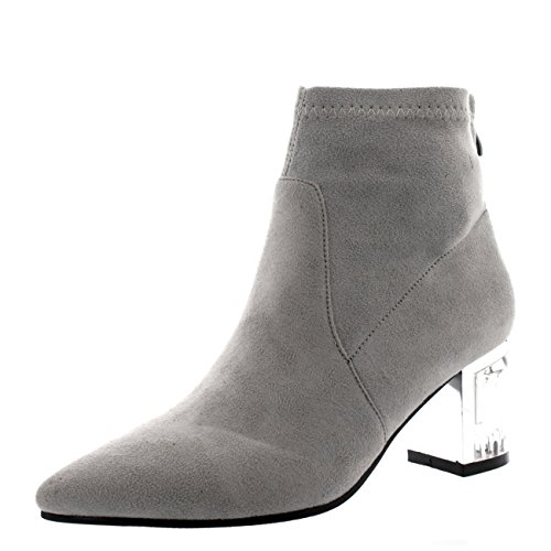 Womens Fashion Block Heel Shoes Zipper Pointed Toe Perspex Ankle Boots - Gray - US8/EU39 - - Brand Margiela