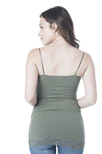 Hollywood Star Fashion de la mujer largo encaje Plain correa de espagueti Cami tanque Verde oliva