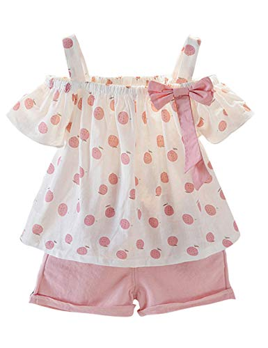 Baby Clothing Kids Summer Clothes Girls Flower Printing Vest + Pure Color Pants Children Clothing Set (Pink-d, 18-24M)]()