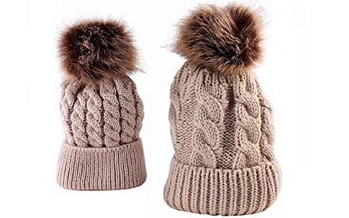b33940cbc1d Mom and Baby Winter Warm Pom Pom Knit Hat Cute Crochet Hairball Hat Set  (Beige