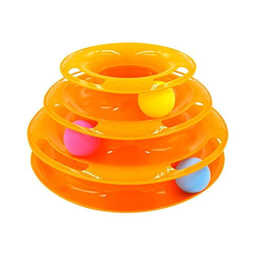 orange Three-Story cat Playing Carousel, pet Interactive Toy cat Three-Layer Turntable pet Puzzle Amusement Track Tower Funny cat Toy Plate (color   orange)